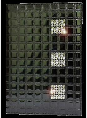 Бумажник водителя женский кожаный БС-12 black ice с кристаллами SWAROVSKI Kniksen черный