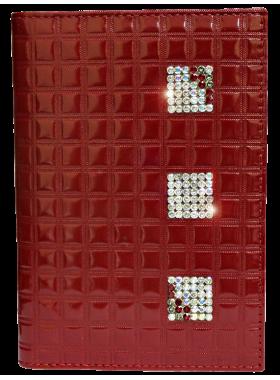 Бумажник водителя женский кожаный БС-12 red ice с кристаллами SWAROVSKI Kniksen красный