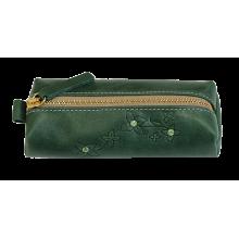 Ключница кожаная женская на молнии зеленый Мэри КМ-2 Kniksen