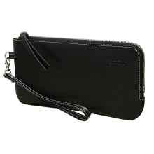 Клатч портмоне мужской кожаный с молнией ФРТ-S черное Apache RFID