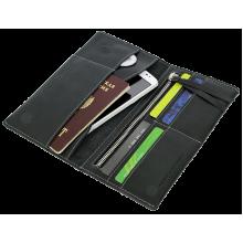Портмоне для документов из кожи на скрытых магнитах Вояж-2-A дымчато-черное Apache