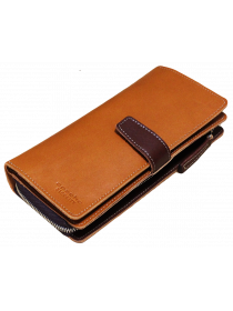 Мужское портмоне из натуральной кожи МК-S-8 рыжий Apache RFID