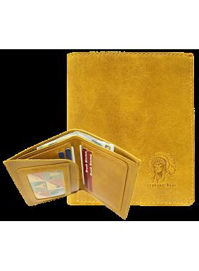Портмоне кожаное для документов и денег ВП-А табачно-желтое Apache
