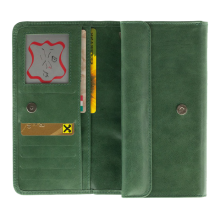 Портмоне кошелек женский кожаный С-ВП-2 друид зеленый Флауэрс