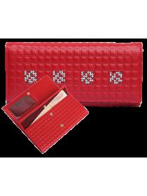 Портмоне кошелек женский кожаный с кристаллами Сваровски ВП-17 Red Ice Kniksen красный