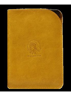 Чехол обложка для паспорта кожаная ОП-А табачно-желтая Apache