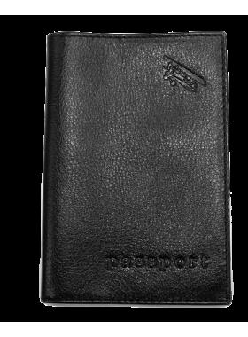 Обложка для паспорта из кожи А-ОП малко черный Авиатика