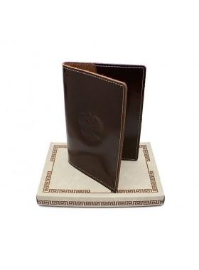 Обложка для паспорта кожаная О-ПО с тиснением Герб РФ и PASSPORT Эллада бордовый