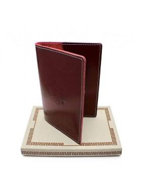 Обложка для паспорта кожаная О-ПО с тиснением Герб РФ и PASSPORT Эллада красный