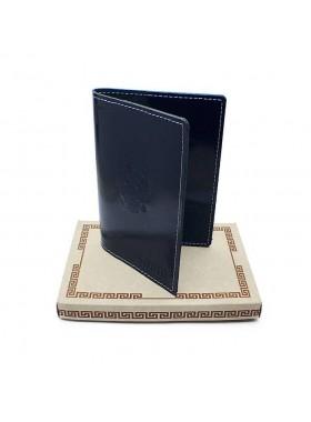 Обложка для паспорта кожаная О-ПО с тиснением Герб РФ и PASSPORT Эллада синий