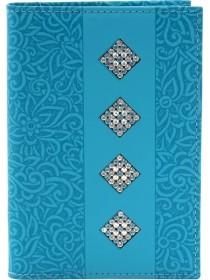 Обложка для паспорта женская натуральная кожа ОП-16 sky stone Kniksen