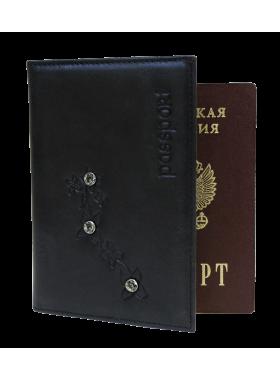 Обложка для паспорта женская кожаная ОПВ Мэри друид черный Kniksen