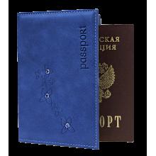 Обложка для паспорта ОПВ- Мэри женская друид синий Kniksen