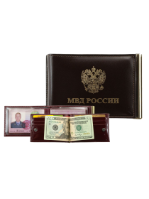 Обложка для удостоверения МВД зажим для денег и карт КУ-4 ш кр Person
