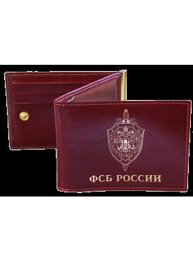 Обложка для удостоверения  ФСБ  зажим для купюр и карт КУ-4 Person красный