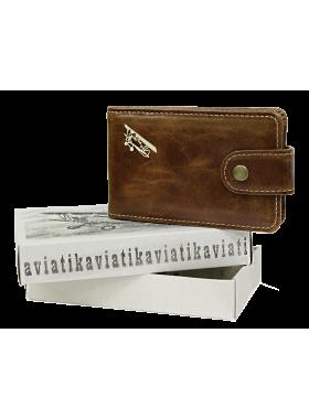 Кредитница визитница мужская натуральная кожа А-ВМ пулл-ап Авиатика коричневая