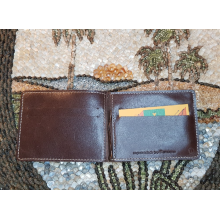 Зажим для денег с отделением кожаный ОК-3-А дымчато-коричневый Apache