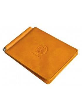 Зажим для денег кожаный ОК-3-А табачно-желтый Apache