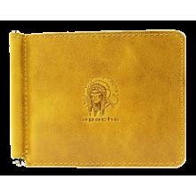 Зажим для денег из кожи Apache ОК-А табачно-желтый